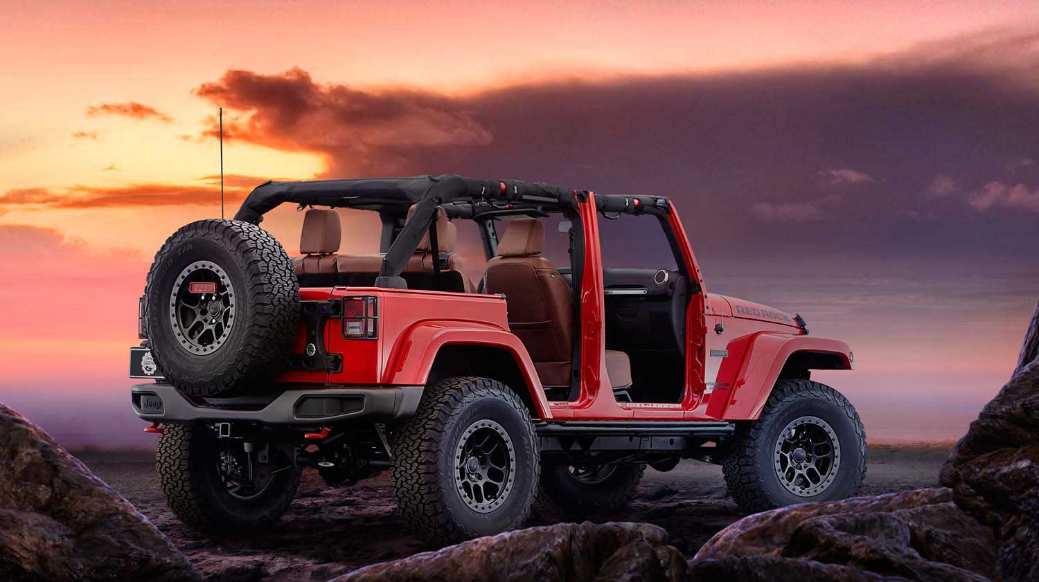 Вид сзади Jeep Wrangler Red Rock.